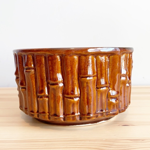 Vintage Brush Pottery Bamboo 7 inch planter USA